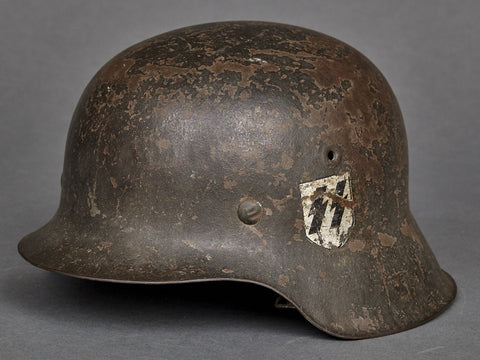 "WWII German Model 1942 SS Combat Helmet, ""Reverse"" Double Decal for Foreign Volunteers"