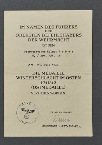 WWII German Russian Front Award Document