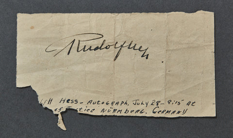Rudolf Hess Hand Signed Note from Nürnberg Trials