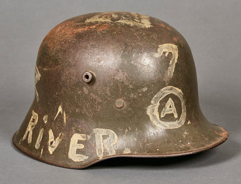 Very Intriguing Model 1916 German Helmet w/WWII US GI Art