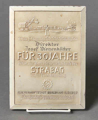 Third Reich DAF Plaque Presented for 30 Years of Factory Service
