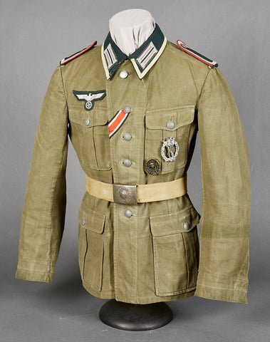 WWII German Army Model 1941 Tropical Artillery NCO Combat Tunic