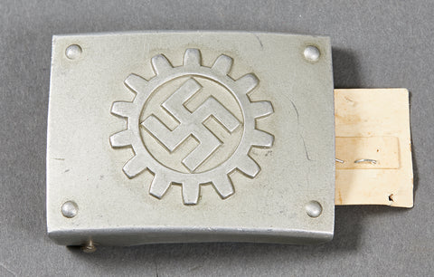 Third Reich DAF Belt Buckle with Paper RZM Tag