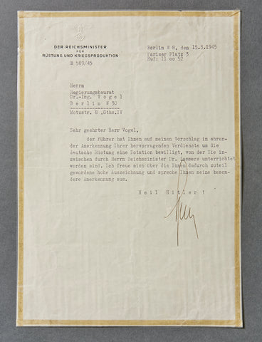 Very Late WWII Letter with an Original Albert Speer Signature