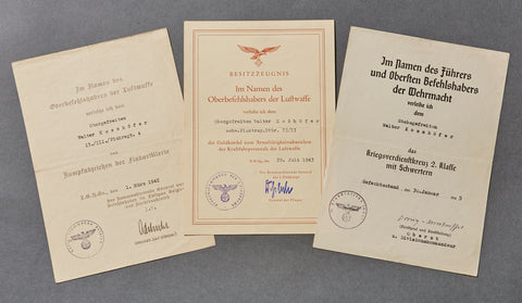 Three Document Grouping to a German Luftwaffe Corporal
