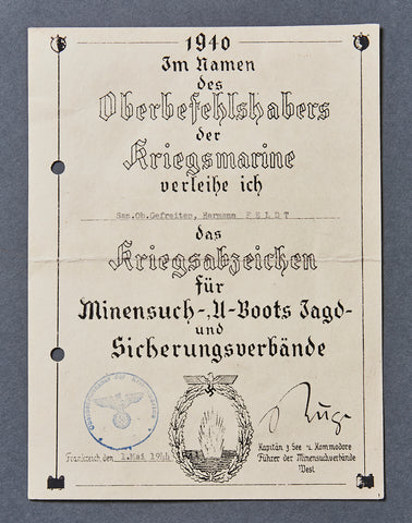 German WWII Document for the Minesweeper's Award