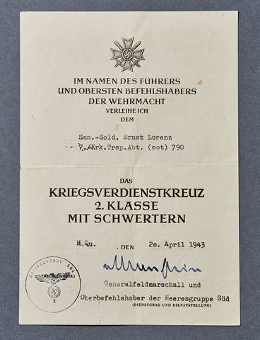 German WWII Document for War Merit Cross Second Class with Swords