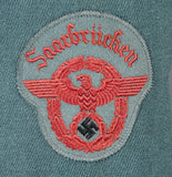 Third Reich German Fire Police NCO Tunic for Saarbrücken, Named