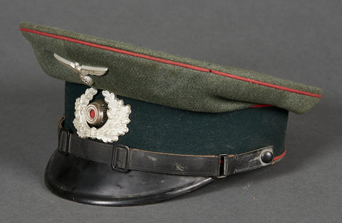 WWII German Army Artillery Enlisted Ranks Visor Cap