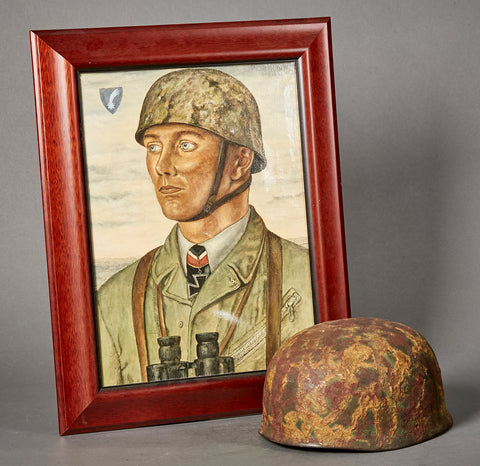 WWII German Luftwaffe Chunky Camouflage Paratrooper Helmet with Portrait