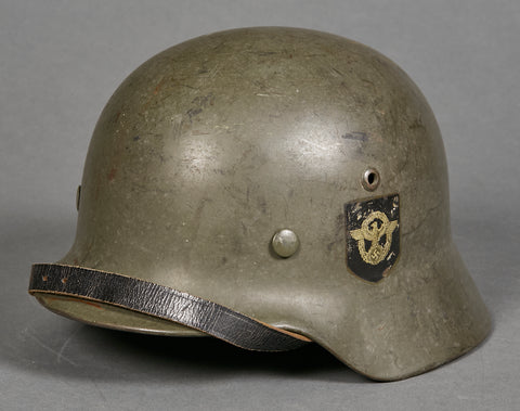Third Reich German Police Model 1935 Double Decal Helmet
