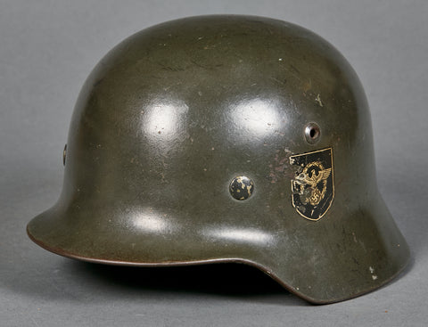WWII German Model 1935 Police Double Decal Helmet