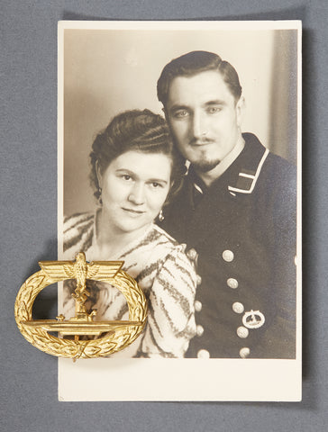 WWII German Kriegsmarine U Boat Badge, w/Vintage Recipient Photo