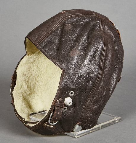 German WWII Luftwaffe Leather Flight Cap for Crew Member