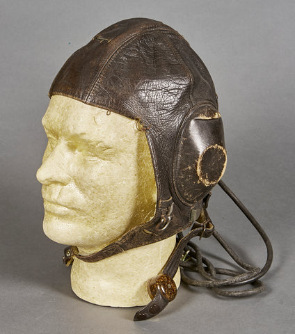 German WWII Luftwaffe Leather Flight Cap