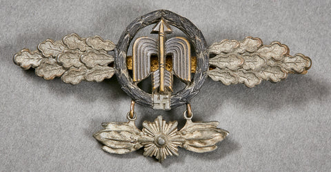 German WWII Short Range Night Fighter Operational Clasp in Gold with Pennant