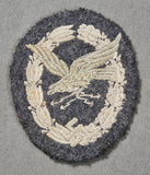 German Luftwaffe WWII Wireless Operator/Arial Gunner Award in Cloth