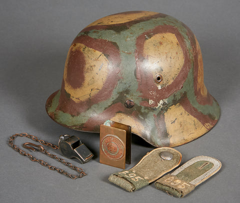 WWII German Army Model 1942 Single Decal Camouflage Helmet w/Box of Souvenirs from Veteran