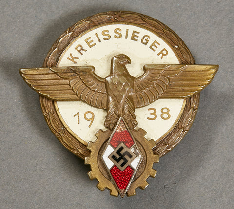 "Hitler Youth Vocational Contest ""Kreissieger 1938"" Badge by Gustav Brehmer"