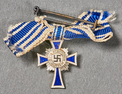 Third Reich German Mothers Cross in Silver, Miniature