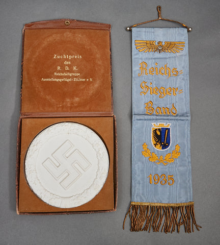 German WWII Interesting Grouping including a Pennant and Cased Non Portable Award
