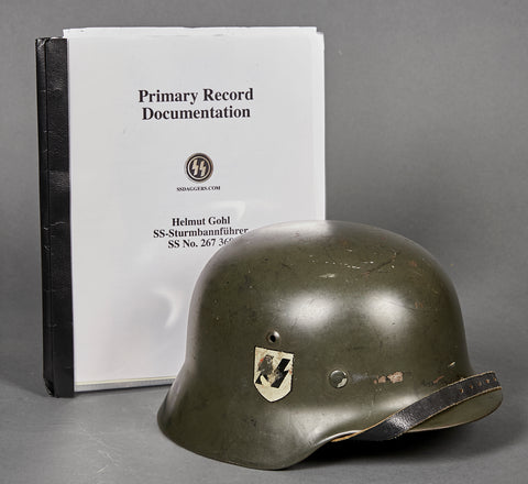 German WWII Documented Model 35 Double Decal SS Helmet