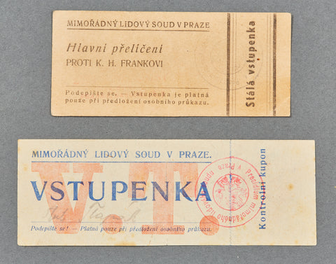 Tickets to the Karl Hermann Frank Trial of 1946