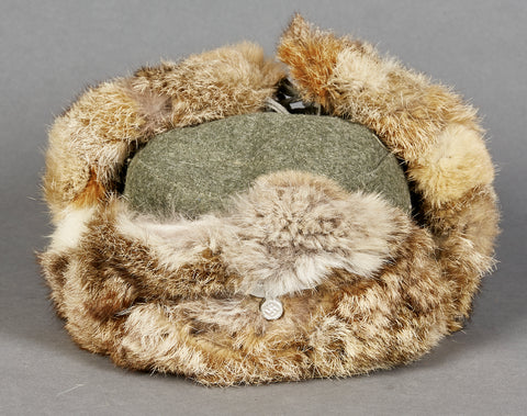 German WWII Russian Front Rabbit Fur Cap