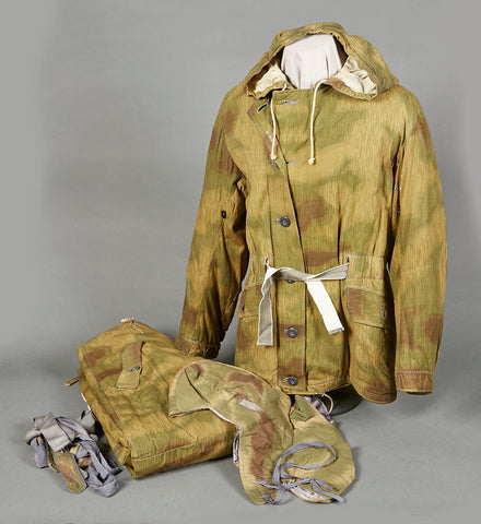 WWII German Tan and Water Camouflage Winter Parka and Trouser Set (with Hood and Suspenders)