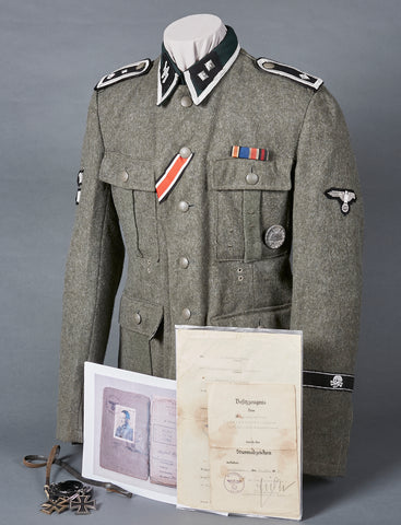 "INCREDIBLE Waffen SS Model 1943 ""Totenkopf"" Service Tunic with Original Documentation etc."