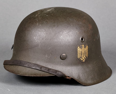 "RARE, Very Late War Model 1942 German Army ""Double Decal"" Helmet"