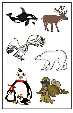artic animals temporary tattoos