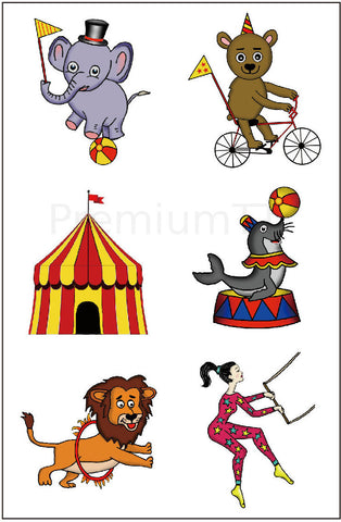 circus carnival temporary tattoos