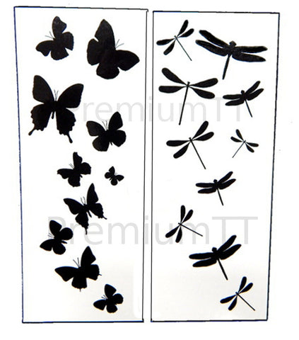 Dragonfly & Butterfly Black Temporary Tattoos
