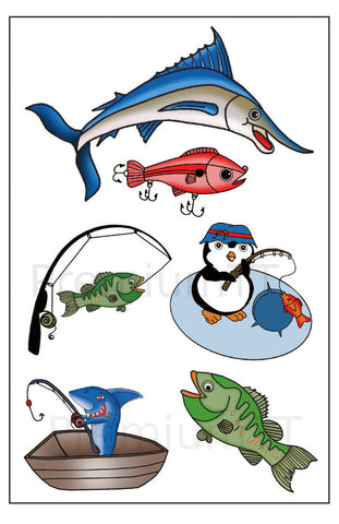 Fishing Temporary Tattoos