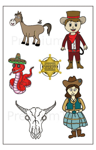 Western Cowboy Temporary Tattoos