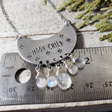 Moon child stamped necklace