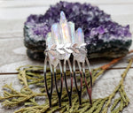 Aura quartz crystal hair comb