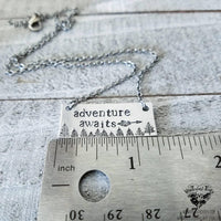 Adventure awaits stamped bar necklace-Wanderlust Hearts