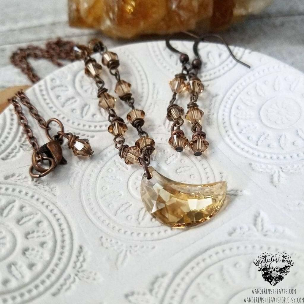 Amber moon Crystal jewelry set-Wanderlust Hearts