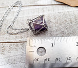 Amethyst pendulum cage necklace