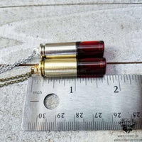 Blood bullet vial necklace-Wanderlust Hearts