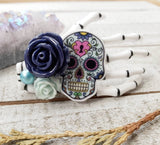 Blue Skeleton hand hair clip