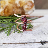 Boho copper wrap ring | Garnet gemstone beaded-Wanderlust Hearts