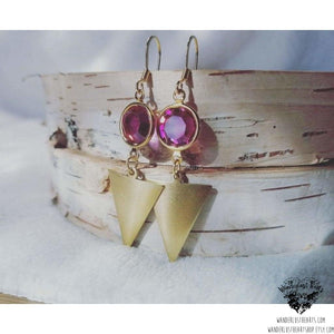 Boho gold triangle earrings | pink swarovski crystals-Wanderlust Hearts