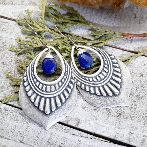 Lapis lazuli shield earrings