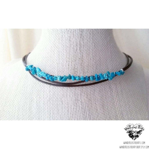 Boho leather choker necklace | Turquoise stone-Wanderlust Hearts