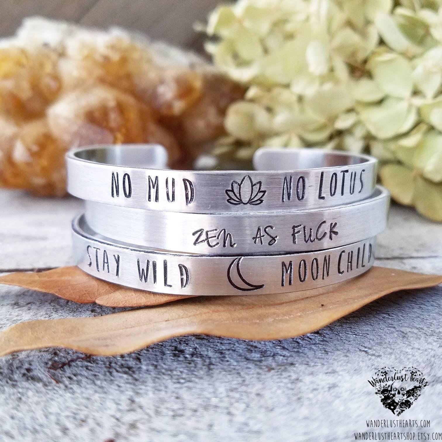 Boho stamped cuff bracelet | Pick your fave quote-Wanderlust Hearts