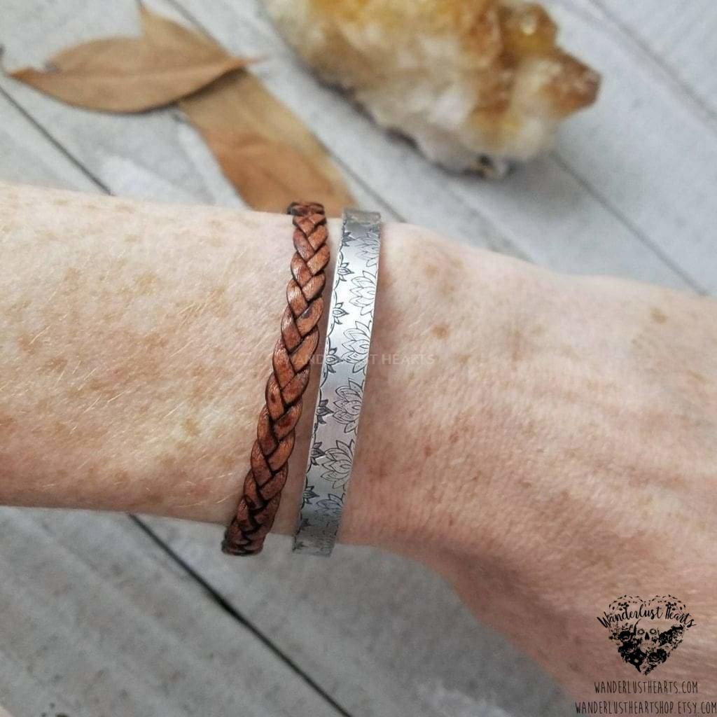 Braided leather bracelet-Wanderlust Hearts