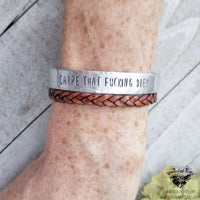 Carpe that f diem Stamped cuff bracelet-Wanderlust Hearts